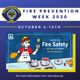 Fire Prevention Week image with Sparky the Dog