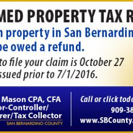 SB County Unclaimed Property Tax Refunds